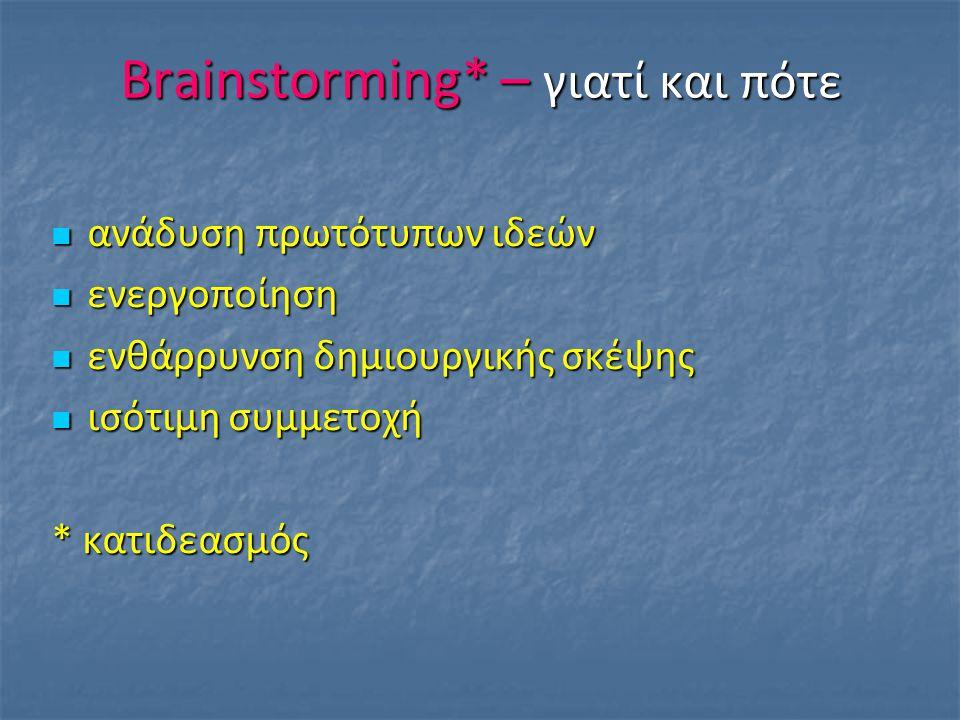 Brainstorming* – γιατί και πότε ανάδυση πρωτότυπων ιδεών ανάδυση πρωτότυπων ιδεών ενεργοποίηση ενεργοποίηση ενθάρρυνση δημιουργικής σκέψης ενθάρρυνση δημιουργικής σκέψης ισότιμη συμμετοχή ισότιμη συμμετοχή * κατιδεασμός