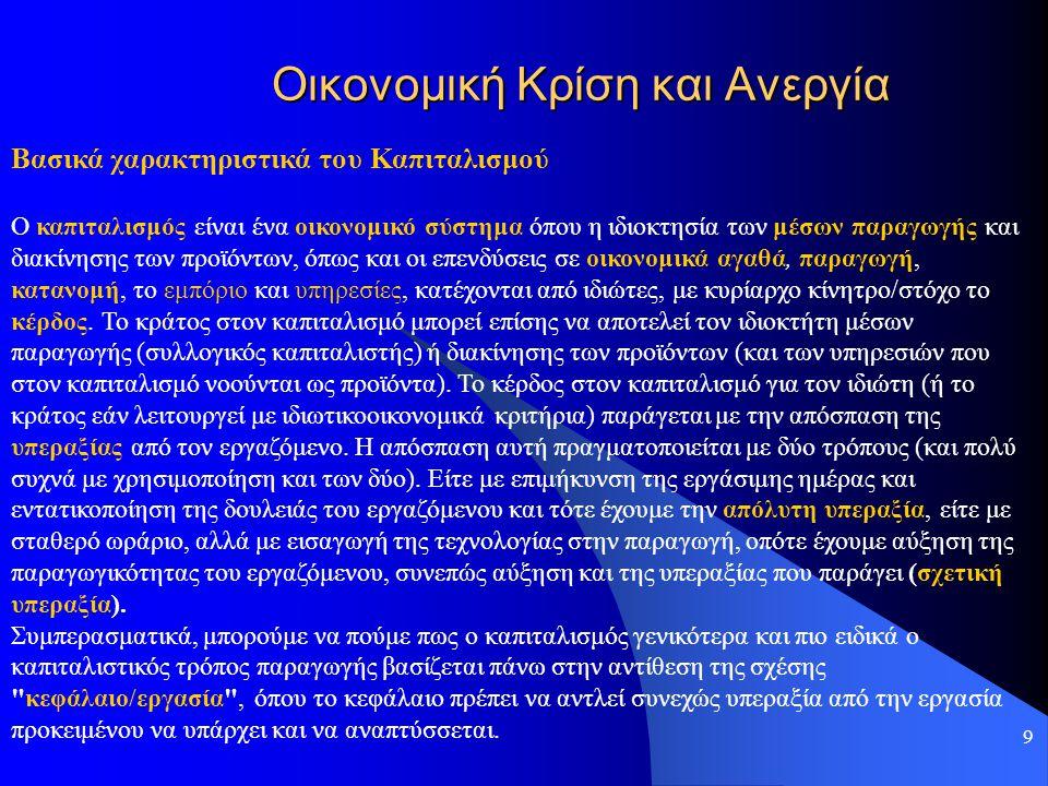 9 Οικονομική Κρίση και Ανεργία Βασικά χαρακτηριστικά του Καπιταλισμού Ο καπιταλισμός είναι ένα οικονομικό σύστημα όπου η ιδιοκτησία των μέσων παραγωγή
