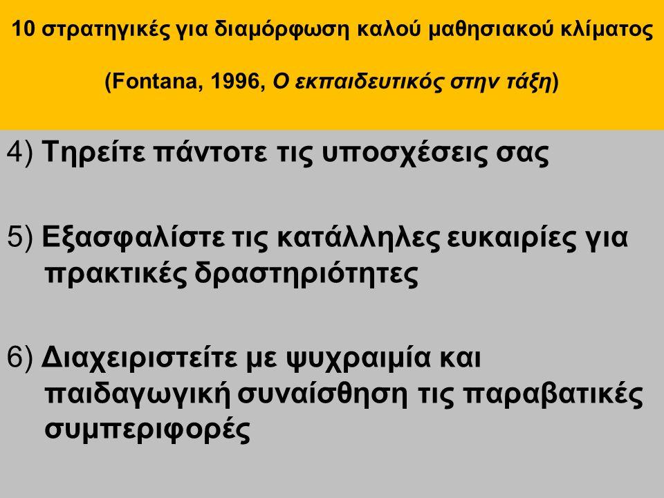 10 στρατηγικές για διαμόρφωση καλού μαθησιακού κλίματος (Fontana, 1996, Ο εκπαιδευτικός στην τάξη) 4) Τηρείτε πάντοτε τις υποσχέσεις σας 5) Εξασφαλίστε τις κατάλληλες ευκαιρίες για πρακτικές δραστηριότητες 6) Διαχειριστείτε με ψυχραιμία και παιδαγωγική συναίσθηση τις παραβατικές συμπεριφορές