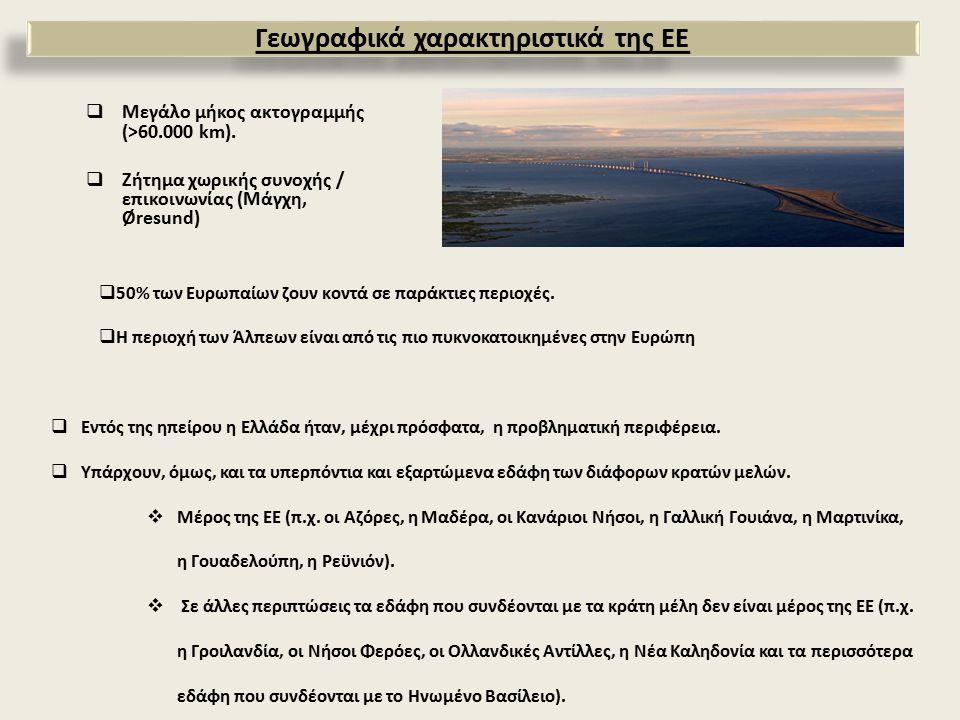  Μεγάλο μήκος ακτογραμμής (>60.000 km).  Ζήτημα χωρικής συνοχής / επικοινωνίας (Μάγχη, Øresund)  50% των Ευρωπαίων ζουν κοντά σε παράκτιες περιοχές