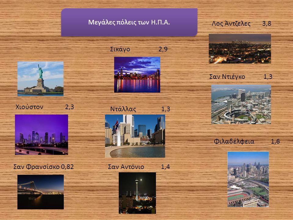 Μεγάλες πόλεις των Η.Π.Α. Νέα Υόρκη 8,4 Λος Άντζελες 3,8 Σικάγο 2,9 Χιούστον 2,3 Σαν Ντιέγκο 1,3 Φιλαδέλφεια 1,6 Σαν Φρανσίσκο 0,82Σαν Αντόνιο 1,4 Ντά