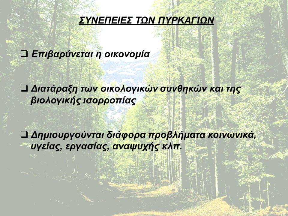 ΠΡΟΛΗΨΗ ΤΩΝ ΠΥΡΚΑΓΙΩΝ Να μην ανάβει ή να διατηρεί φωτιά για οποιοδήποτε σκοπό στο ύπαιθρο και μέσα σε δάση ή δασικές εκτάσεις ή πλησίον τους και μέχρι απόσταση τριακοσίων μέτρων.