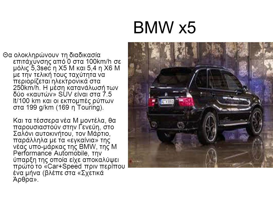 BMW x5 Θα ολοκληρώνουν τη διαδικασία επιτάχυνσης από 0 στα 100km/h σε μόλις 5,3sec η X5 Μ και 5,4 η Χ6 Μ με την τελική τους ταχύτητα να περιορίζεται ηλεκτρονικά στα 250km/h.