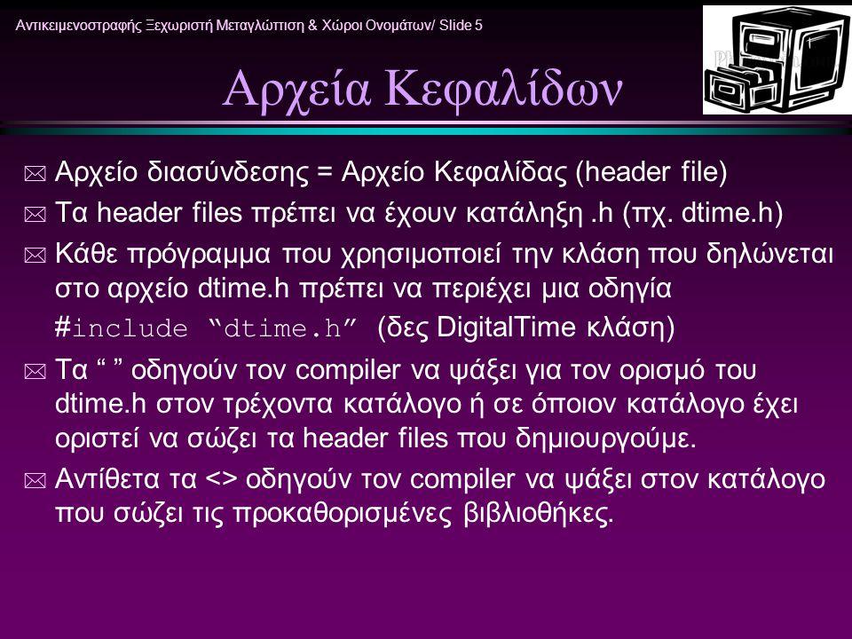 Αντικειμενοστραφής Ξεχωριστή Μεταγλώττιση & Χώροι Ονομάτων/ Slide 5 Αρχεία Κεφαλίδων * Αρχείο διασύνδεσης = Αρχείο Κεφαλίδας (header file) * Τα header