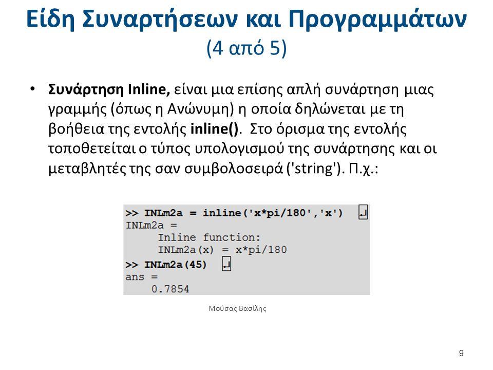 Είδη Συναρτήσεων και Προγραμμάτων (4 από 5) Συνάρτηση Inline, είναι μια επίσης απλή συνάρτηση μιας γραμμής (όπως η Ανώνυμη) η οποία δηλώνεται με τη βοήθεια της εντολής inline().