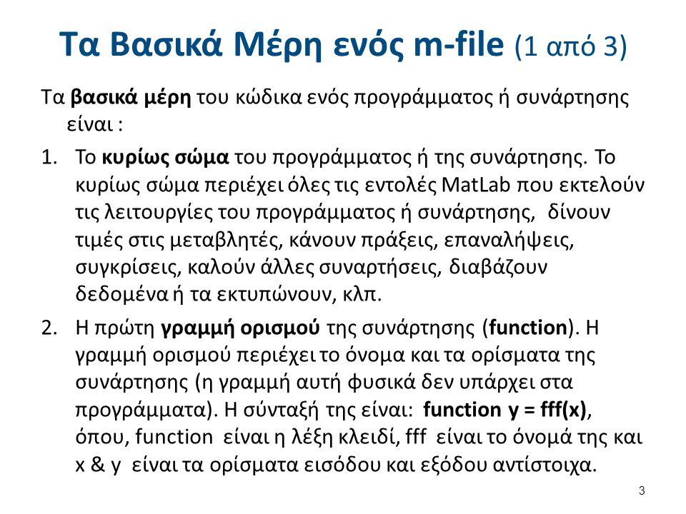 Τα Βασικά Μέρη ενός m-file (1 από 3) Τα βασικά μέρη του κώδικα ενός προγράμματος ή συνάρτησης είναι : 1.Το κυρίως σώμα του προγράμματος ή της συνάρτησης.