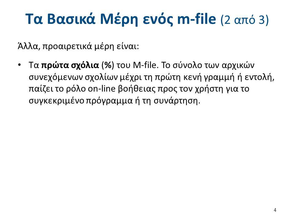 Τα Βασικά Μέρη ενός m-file (2 από 3) Άλλα, προαιρετικά μέρη είναι: Τα πρώτα σχόλια (%) του M-file.