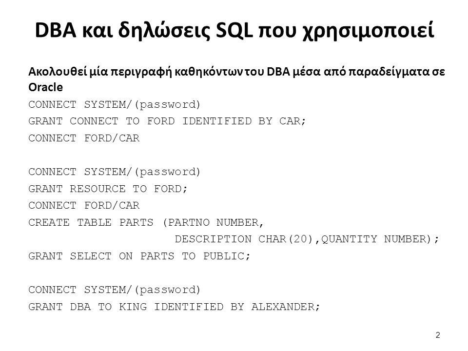Φτιάξε ένα νέο DBA Συνδέσου σαν DBA CONNECT SYSTEM/(password) και δημιούργησε τον νέο DBA (KING/ALEXANDER) GRANT DBA TO KING IDENTIFIED BY ALEXANDER; 33