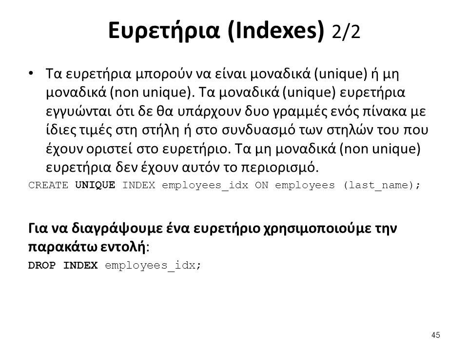 Ευρετήρια (Indexes) 2/2 Τα ευρετήρια μπορούν να είναι μοναδικά (unique) ή μη μοναδικά (non unique).