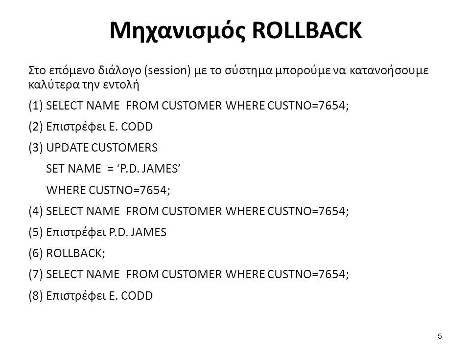 Μηχανισμός ROLLBACK Στο επόμενο διάλογο (session) με το σύστημα μπορούμε να κατανοήσουμε καλύτερα την εντολή (1) SELECT NAME FROM CUSTOMER WHERE CUSTNO=7654; (2) Επιστρέφει E.