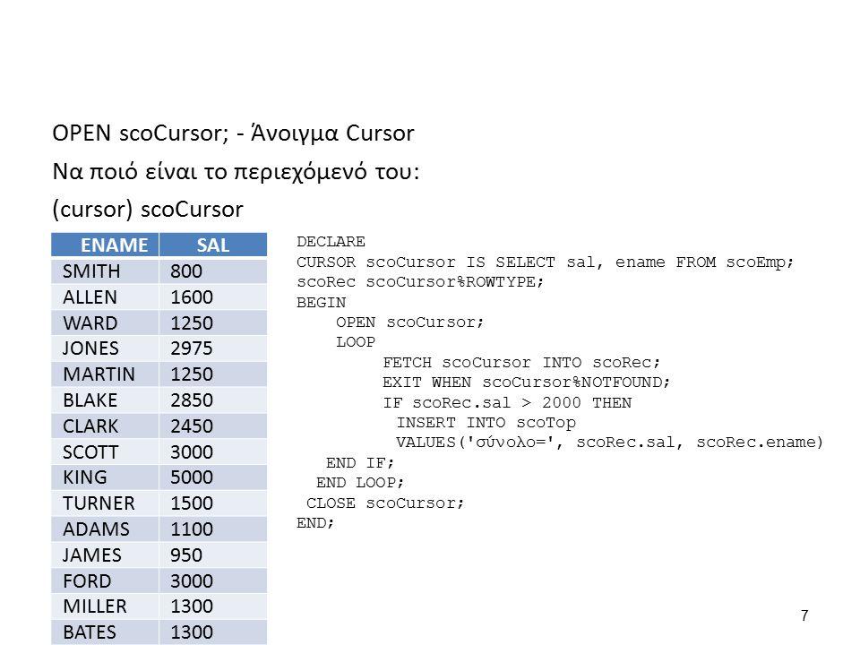 Τώρα θέλουμε να περάσουμε με τη σειρά όλες τις γραμμές αυτές στην εγγραφή ScoRec που ορίσαμε: DECLARE CURSOR scoCursor IS SELECT sal, ename FROM scoEmp; scoRec scoCursor%ROWTYPE; BEGIN OPEN scoCursor; LOOP FETCH scoCursor INTO scoRec; EXIT WHEN scoCursor%NOTFOUND; IF scoRec.sal > 2000 THEN INSERT INTO scoTop VALUES( σύνολο= , scoRec.sal, scoRec.ename) END IF; END LOOP; CLOSE scoCursor; END; 8