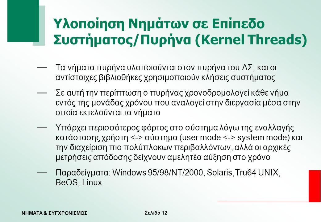 Σελίδα 12 ΝΗΜΑΤΑ & ΣΥΓΧΡΟΝΙΣΜΟΣ Υλοποίηση Νημάτων σε Επίπεδο Συστήματος/Πυρήνα (Kernel Threads) — Τα νήματα πυρήνα υλοποιούνται στον πυρήνα του ΛΣ, κα