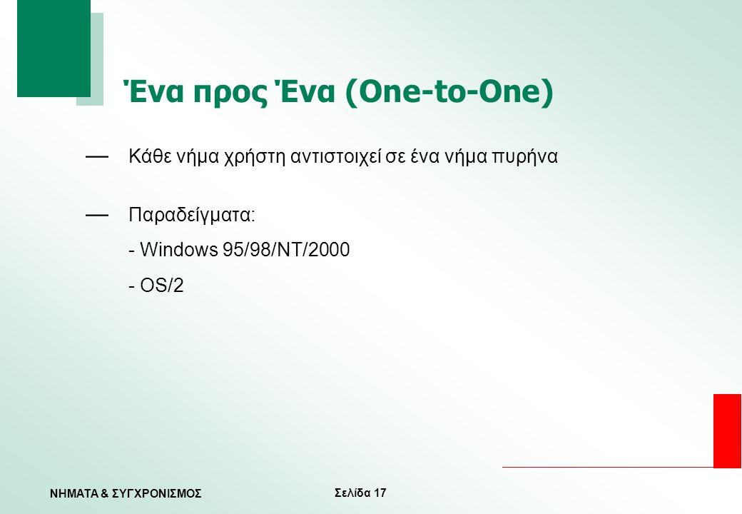 Σελίδα 17 ΝΗΜΑΤΑ & ΣΥΓΧΡΟΝΙΣΜΟΣ Ένα προς Ένα (One-to-One) — Κάθε νήμα χρήστη αντιστοιχεί σε ένα νήμα πυρήνα — Παραδείγματα: - Windows 95/98/NT/2000 -