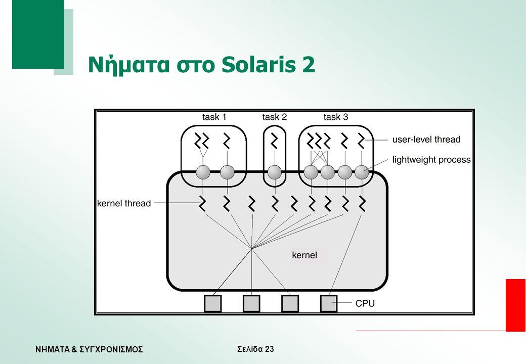 Σελίδα 23 ΝΗΜΑΤΑ & ΣΥΓΧΡΟΝΙΣΜΟΣ Νήματα στο Solaris 2