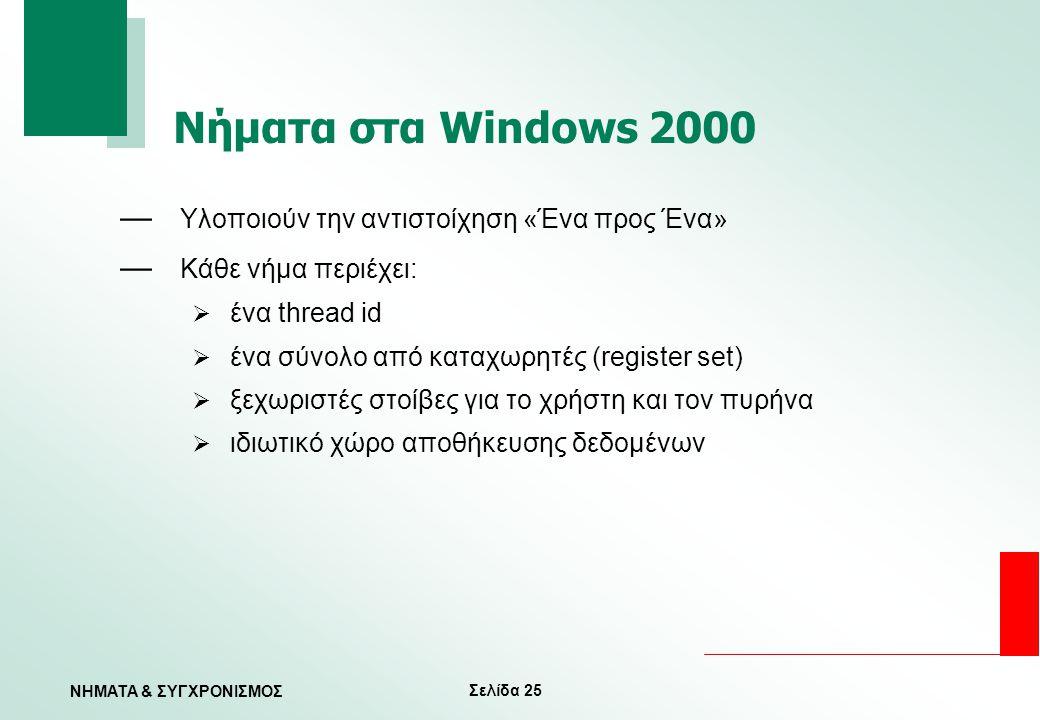 Σελίδα 25 ΝΗΜΑΤΑ & ΣΥΓΧΡΟΝΙΣΜΟΣ Νήματα στα Windows 2000 — Υλοποιούν την αντιστοίχηση «Ένα προς Ένα» — Κάθε νήμα περιέχει:  ένα thread id  ένα σύνολο