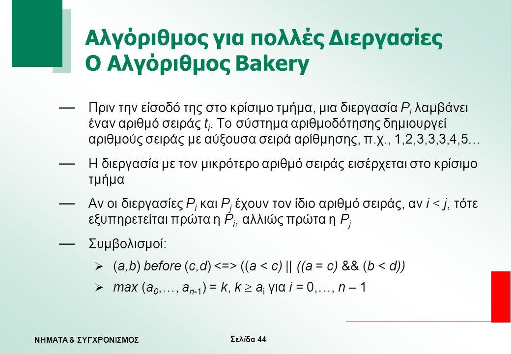 Σελίδα 44 ΝΗΜΑΤΑ & ΣΥΓΧΡΟΝΙΣΜΟΣ Αλγόριθμος για πολλές Διεργασίες Ο Αλγόριθμος Bakery — Πριν την είσοδό της στο κρίσιμο τμήμα, μια διεργασία P i λαμβάν