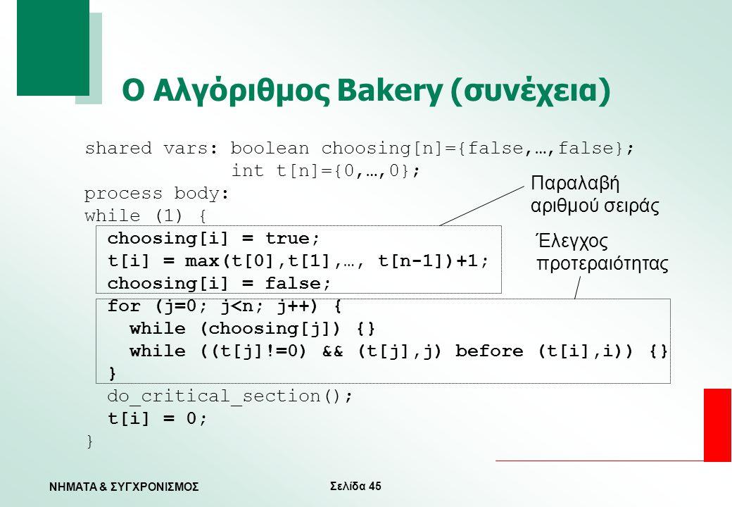 Σελίδα 45 ΝΗΜΑΤΑ & ΣΥΓΧΡΟΝΙΣΜΟΣ Ο Αλγόριθμος Bakery (συνέχεια) shared vars: boolean choosing[n]={false,…,false}; int t[n]={0,…,0}; process body: while