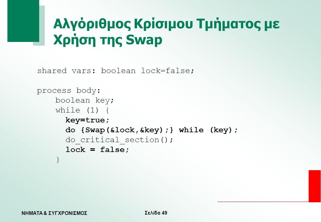 Σελίδα 49 ΝΗΜΑΤΑ & ΣΥΓΧΡΟΝΙΣΜΟΣ Αλγόριθμος Κρίσιμου Τμήματος με Χρήση της Swap shared vars: boolean lock=false; process body: boolean key; while (1) {