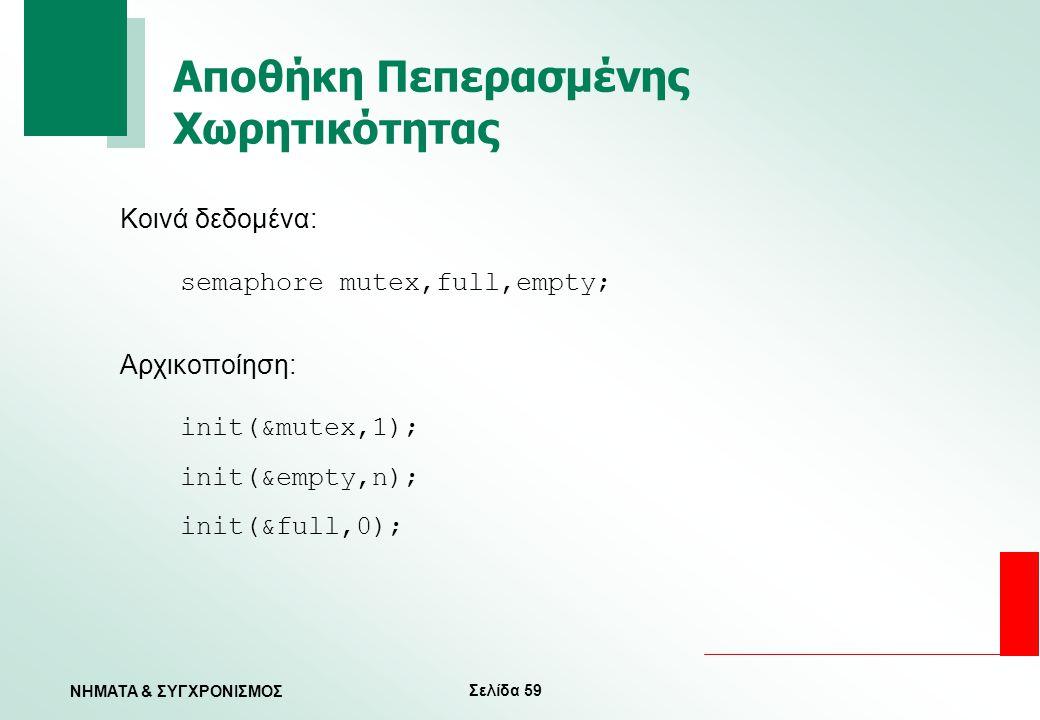 Σελίδα 59 ΝΗΜΑΤΑ & ΣΥΓΧΡΟΝΙΣΜΟΣ Αποθήκη Πεπερασμένης Χωρητικότητας Κοινά δεδομένα: semaphore mutex,full,empty; Αρχικοποίηση: init(&mutex,1); init(&emp