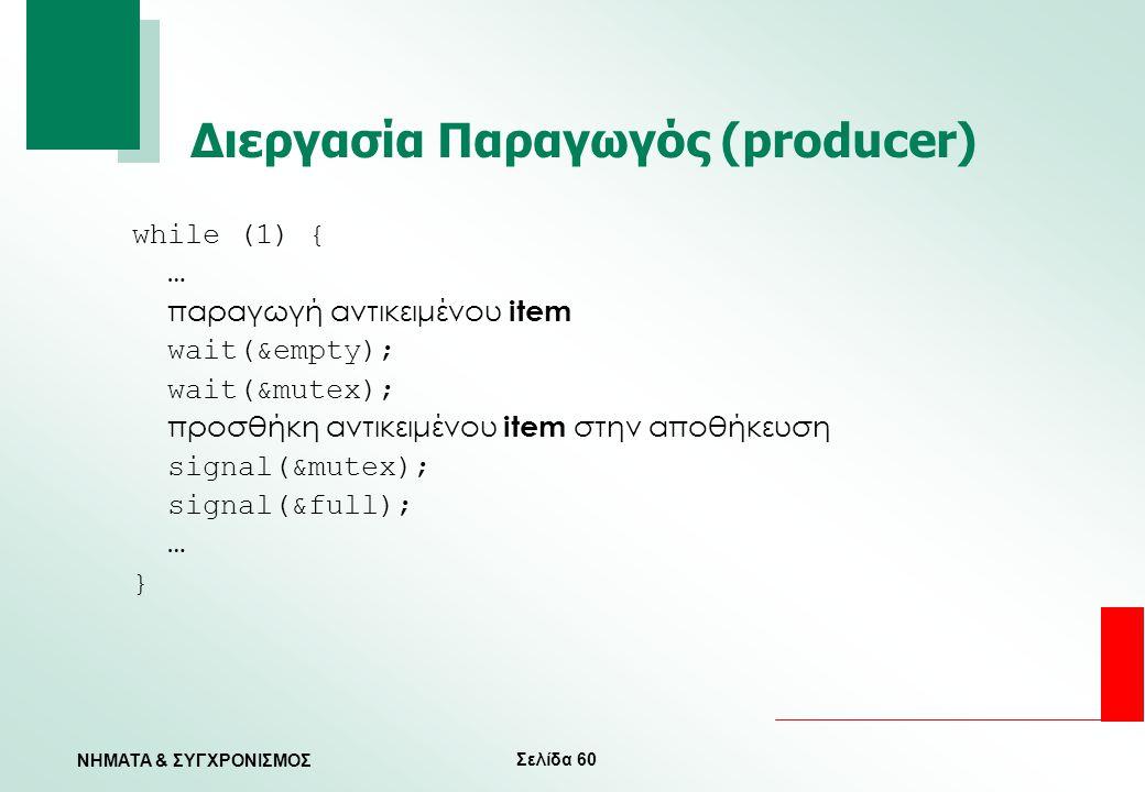 Σελίδα 60 ΝΗΜΑΤΑ & ΣΥΓΧΡΟΝΙΣΜΟΣ Διεργασία Παραγωγός (producer) while (1) { … παραγωγή αντικειμένου item wait(&empty); wait(&mutex); προσθήκη αντικειμέ