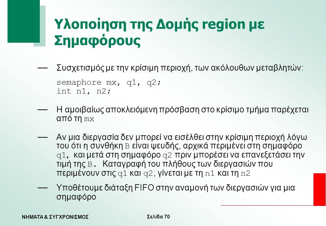 Σελίδα 70 ΝΗΜΑΤΑ & ΣΥΓΧΡΟΝΙΣΜΟΣ Υλοποίηση της Δομής region με Σημαφόρους — Συσχετισμός με την κρίσιμη περιοχή, των ακόλουθων μεταβλητών: semaphore mx,