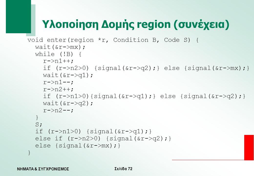 Σελίδα 72 ΝΗΜΑΤΑ & ΣΥΓΧΡΟΝΙΣΜΟΣ Υλοποίηση Δομής region (συνέχεια) void enter(region *r, Condition B, Code S) { wait(&r->mx); while (!B) { r->n1++; if