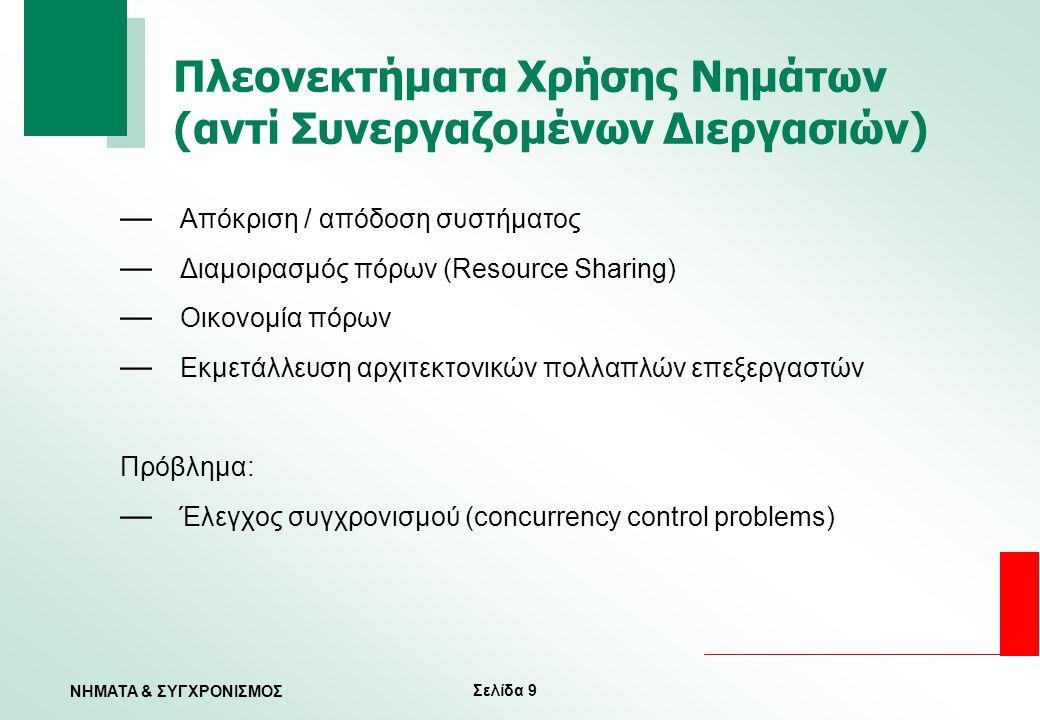 Σελίδα 30 ΝΗΜΑΤΑ & ΣΥΓΧΡΟΝΙΣΜΟΣ Εισαγωγή — Θεωρητικό υπόβαθρο — Το πρόβλημα του κρίσιμου τμήματος (the critical-section problem) — Υλικό συγχρονισμού — Σηματοφορείς ή σημαφόροι (semaphores) — Κλασικά προβλήματα συγχρονισμού — Κρίσιμες περιοχές (critical regions) — Ελεγκτές/παρακολουθητές (monitors)