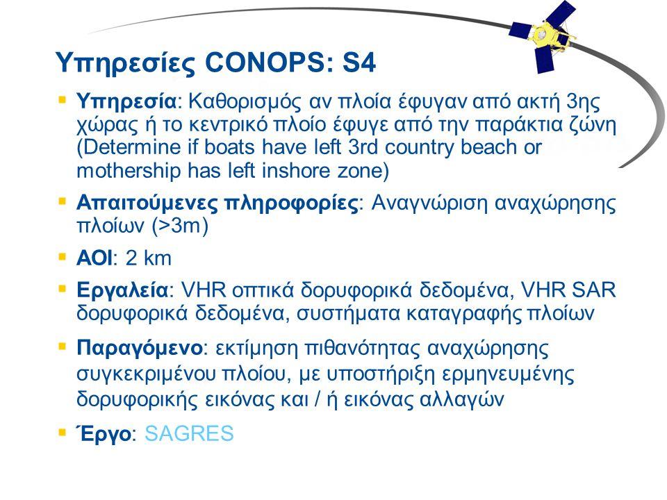 Υπηρεσίες CONOPS: S4  Υπηρεσία: Καθορισμός αν πλοία έφυγαν από ακτή 3ης χώρας ή το κεντρικό πλοίο έφυγε από την παράκτια ζώνη (Determine if boats hav