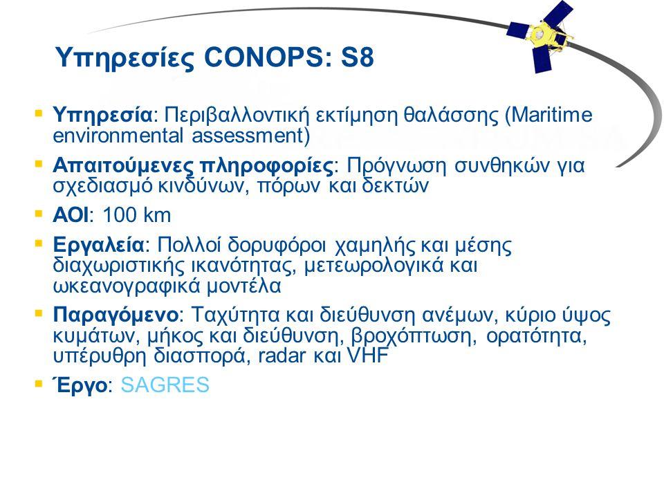 Υπηρεσίες CONOPS: S8  Υπηρεσία: Περιβαλλοντική εκτίμηση θαλάσσης (Maritime environmental assessment)  Απαιτούμενες πληροφορίες: Πρόγνωση συνθηκών γι