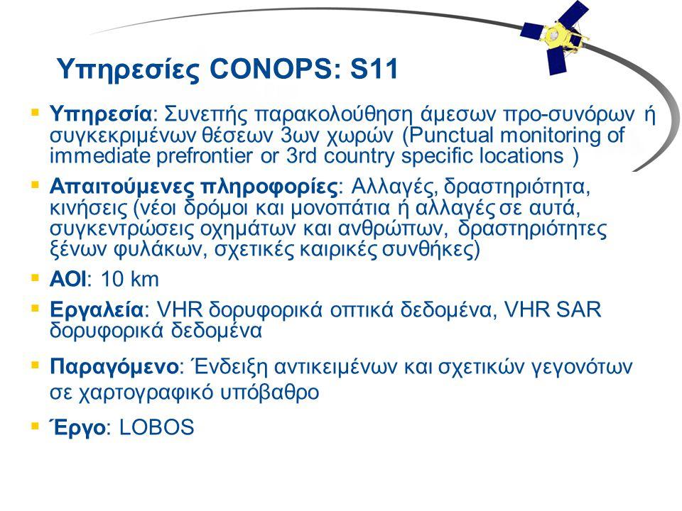 Υπηρεσίες CONOPS: S11  Υπηρεσία: Συνεπής παρακολούθηση άμεσων προ-συνόρων ή συγκεκριμένων θέσεων 3ων χωρών (Punctual monitoring of immediate prefront