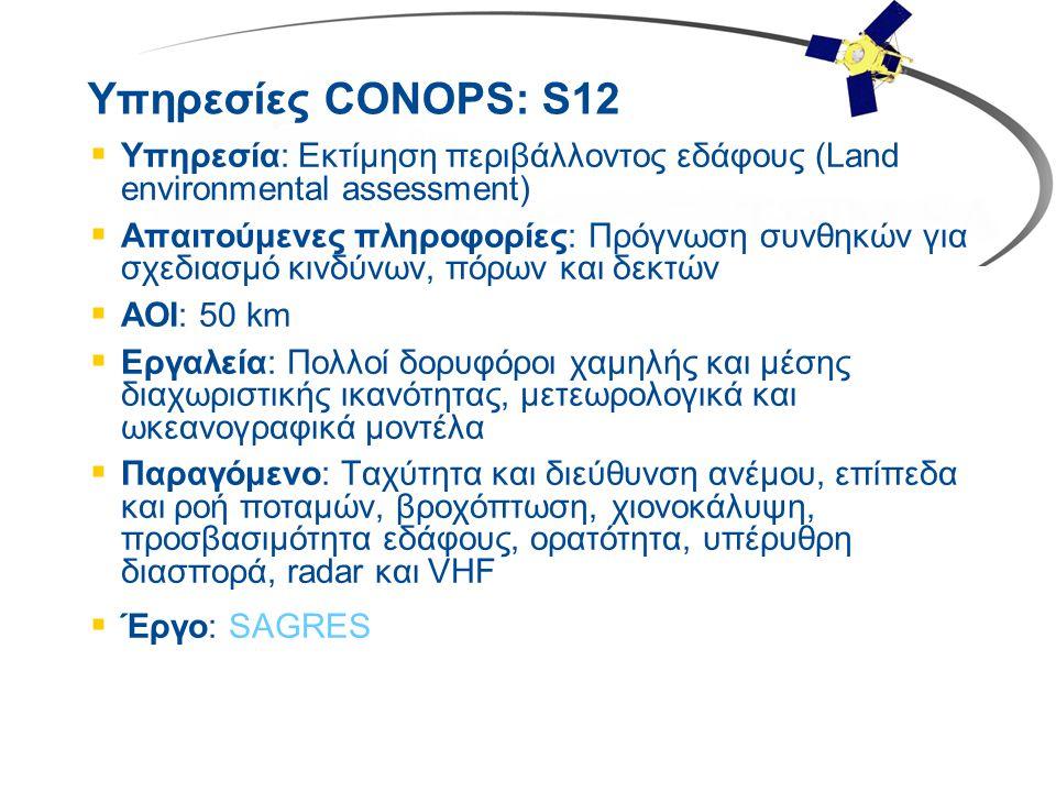 Υπηρεσίες CONOPS: S12  Υπηρεσία: Εκτίμηση περιβάλλοντος εδάφους (Land environmental assessment)  Απαιτούμενες πληροφορίες: Πρόγνωση συνθηκών για σχε