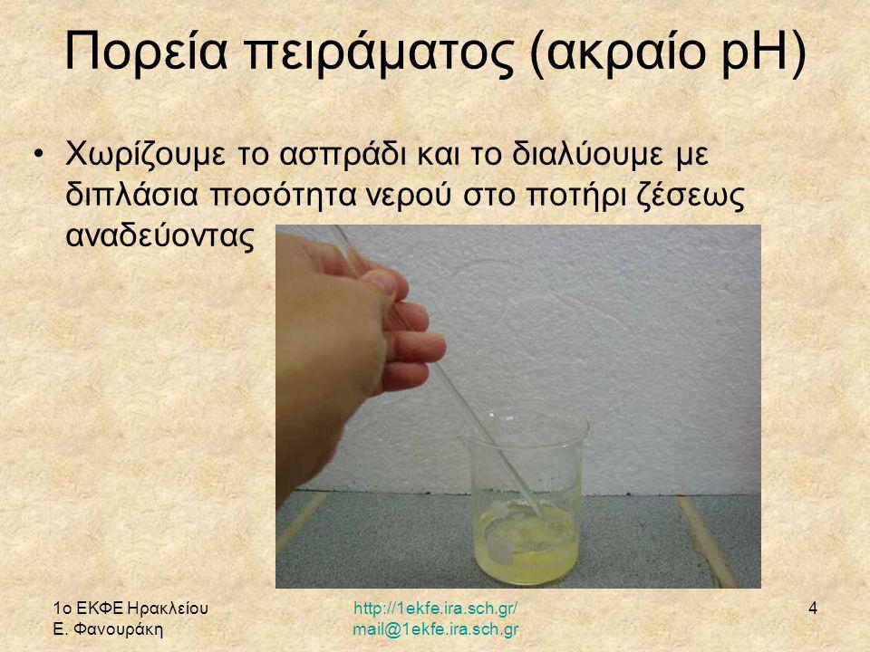 1ο ΕΚΦΕ Ηρακλείου Ε. Φανουράκη http://1ekfe.ira.sch.gr/ mail@1ekfe.ira.sch.gr 4 Πορεία πειράματος (ακραίο pH) Χωρίζουμε το ασπράδι και το διαλύουμε με
