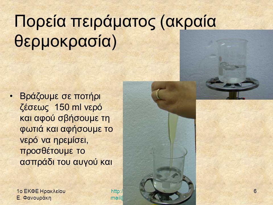 1ο ΕΚΦΕ Ηρακλείου Ε. Φανουράκη http://1ekfe.ira.sch.gr/ mail@1ekfe.ira.sch.gr 6 Βράζουμε σε ποτήρι ζέσεως 150 ml νερό και αφού σβήσουμε τη φωτιά και α