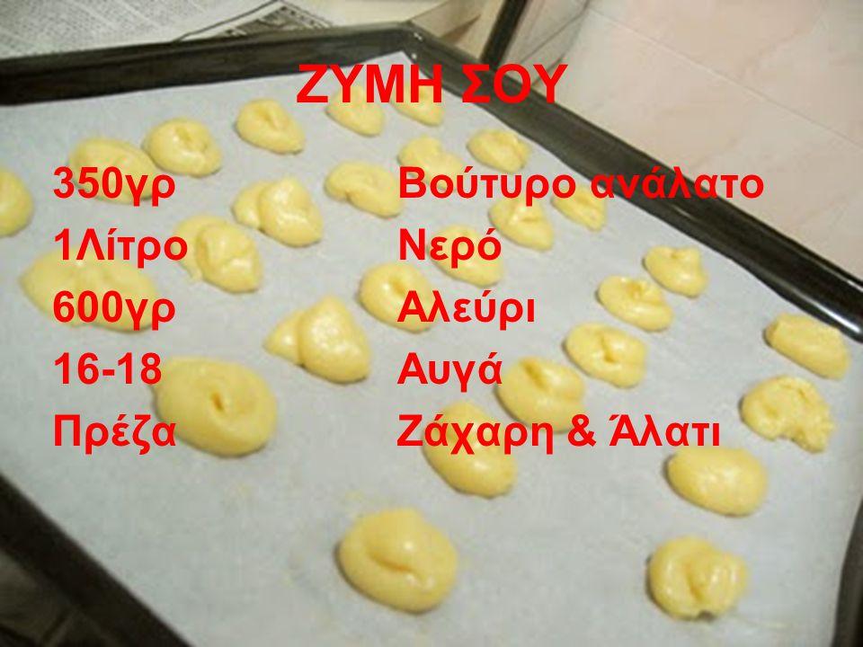 ΖΥΜΗ ΣΟΥ 350γρ Βούτυρο ανάλατο 1Λίτρο Νερό 600γρΑλεύρι 16-18 Αυγά ΠρέζαΖάχαρη & Άλατι