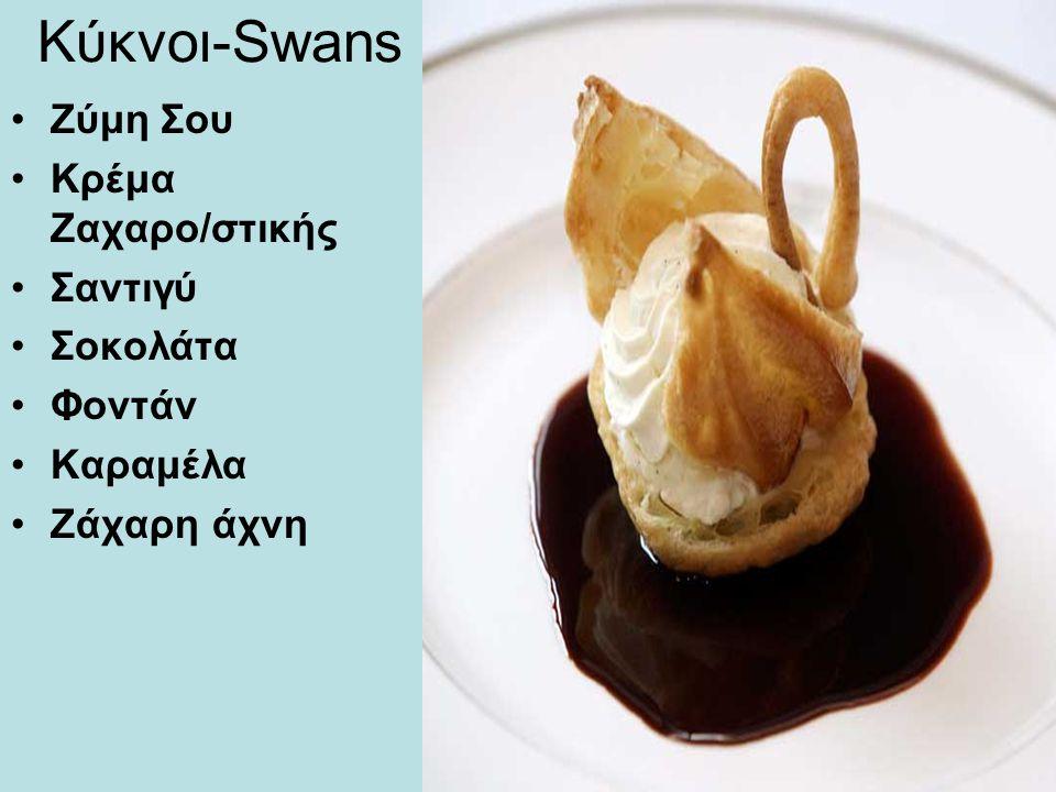 Κύκνοι-Swans Ζύμη Σου Κρέμα Ζαχαρο/στικής Σαντιγύ Σοκολάτα Φοντάν Καραμέλα Ζάχαρη άχνη