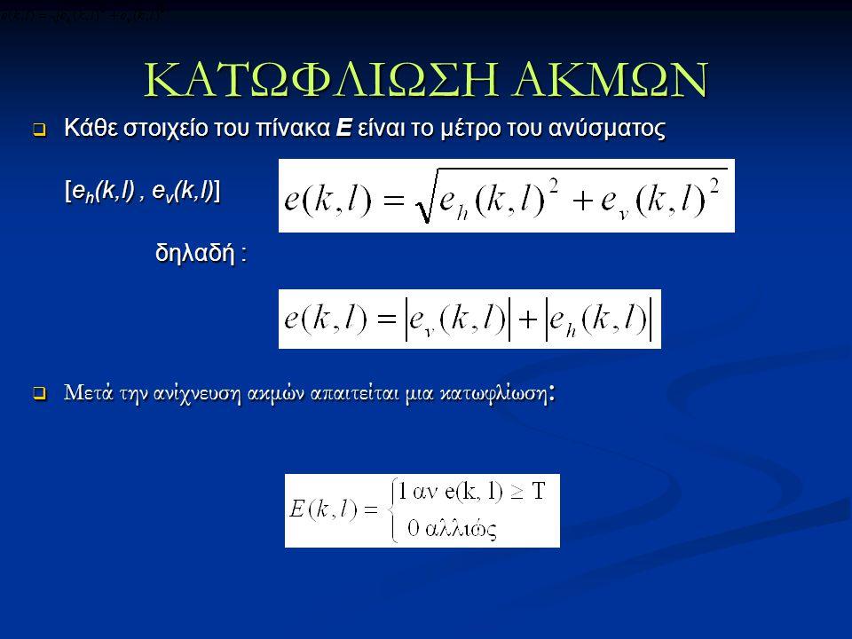  Κάθε στοιχείο του πίνακα Ε είναι το μέτρο του ανύσματος [e h (k,l), e v (k,l)] [e h (k,l), e v (k,l)] δηλαδή : δηλαδή :  Μετά την ανίχνευση ακμών α
