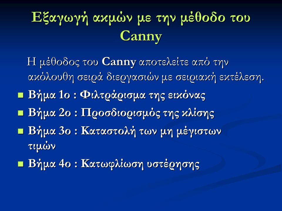 Εξαγωγή ακμών με την μέθοδο του Canny Η μέθοδος του Canny αποτελείτε από την ακόλουθη σειρά διεργασιών με σειριακή εκτέλεση. Η μέθοδος του Canny αποτε