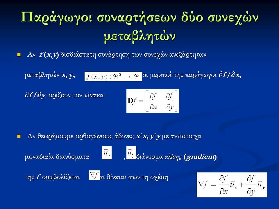 Παράγωγοι συναρτήσεων δύο συνεχών μεταβλητών Αν δισδιάστατη συνάρτηση των συνεχών ανεξάρτητων Αν f (x,y) δισδιάστατη συνάρτηση των συνεχών ανεξάρτητων