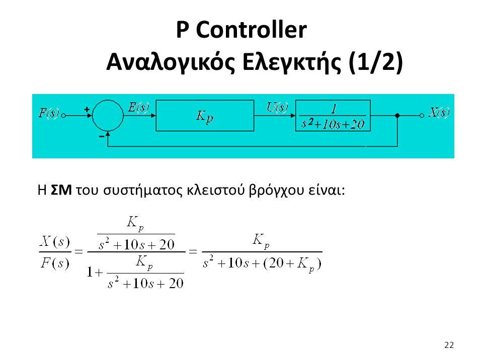 Η ΣΜ του συστήματος κλειστού βρόγχου είναι: 22 P Controller Αναλογικός Ελεγκτής (1/2)