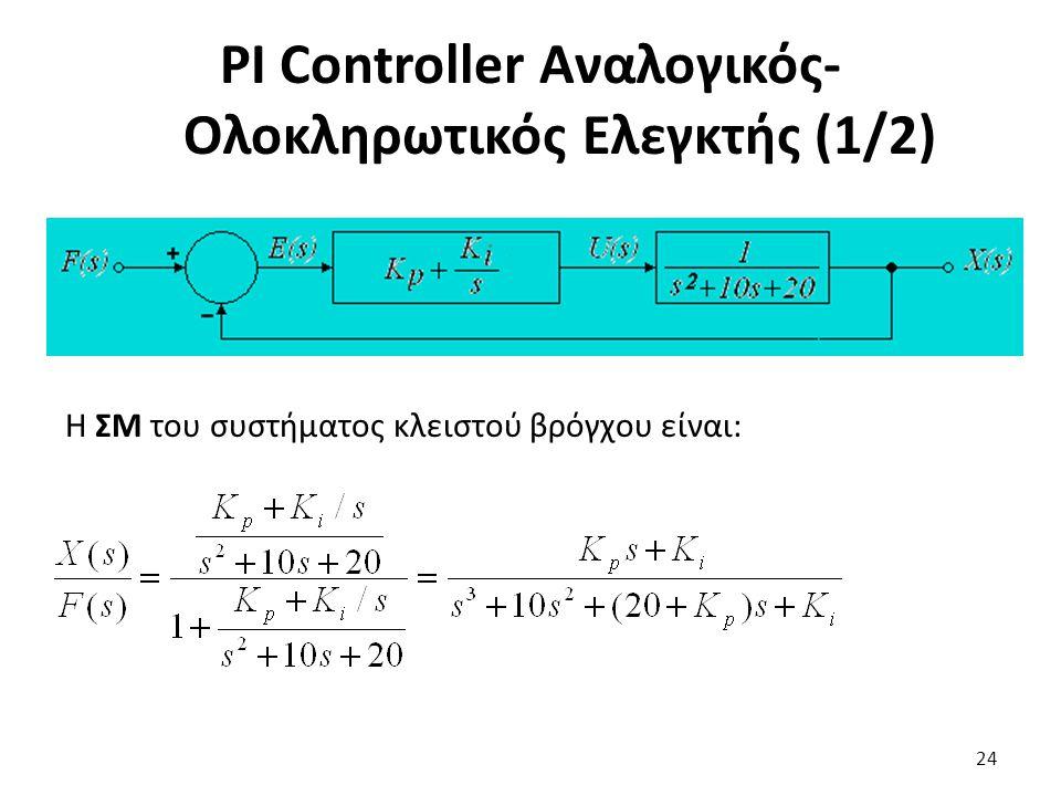 Η ΣΜ του συστήματος κλειστού βρόγχου είναι: 24 PI Controller Αναλογικός- Ολοκληρωτικός Ελεγκτής (1/2)