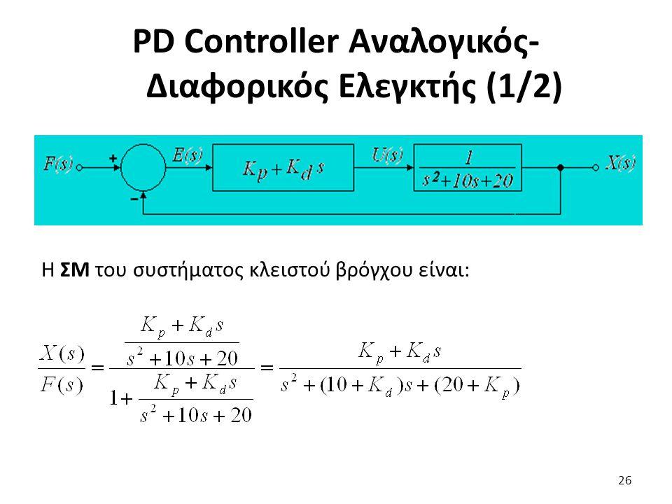 Η ΣΜ του συστήματος κλειστού βρόγχου είναι: 26 PD Controller Αναλογικός- Διαφορικός Ελεγκτής (1/2)