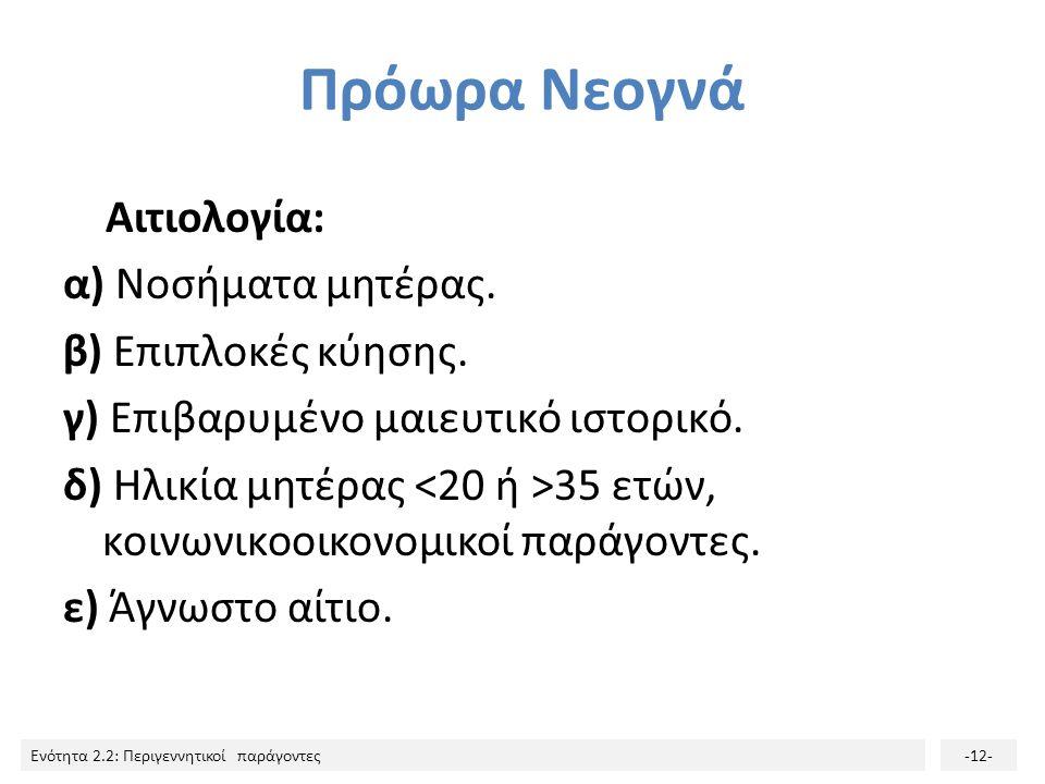 Ενότητα 2.2: Περιγεννητικοί παράγοντες-12- Πρόωρα Νεογνά Αιτιολογία: α) Νοσήματα μητέρας. β) Επιπλοκές κύησης. γ) Επιβαρυμένο μαιευτικό ιστορικό. δ) Η