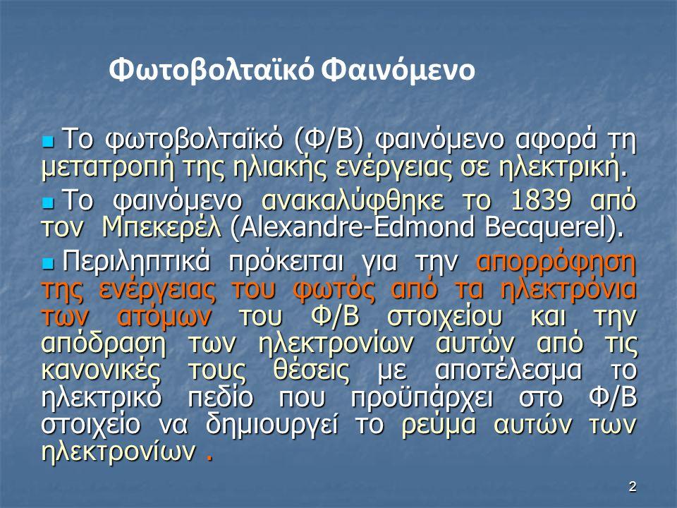 2 Το φωτοβολταϊκό (Φ/Β) φαινόμενο αφορά τη μετατροπή της ηλιακής ενέργειας σε ηλεκτρική.