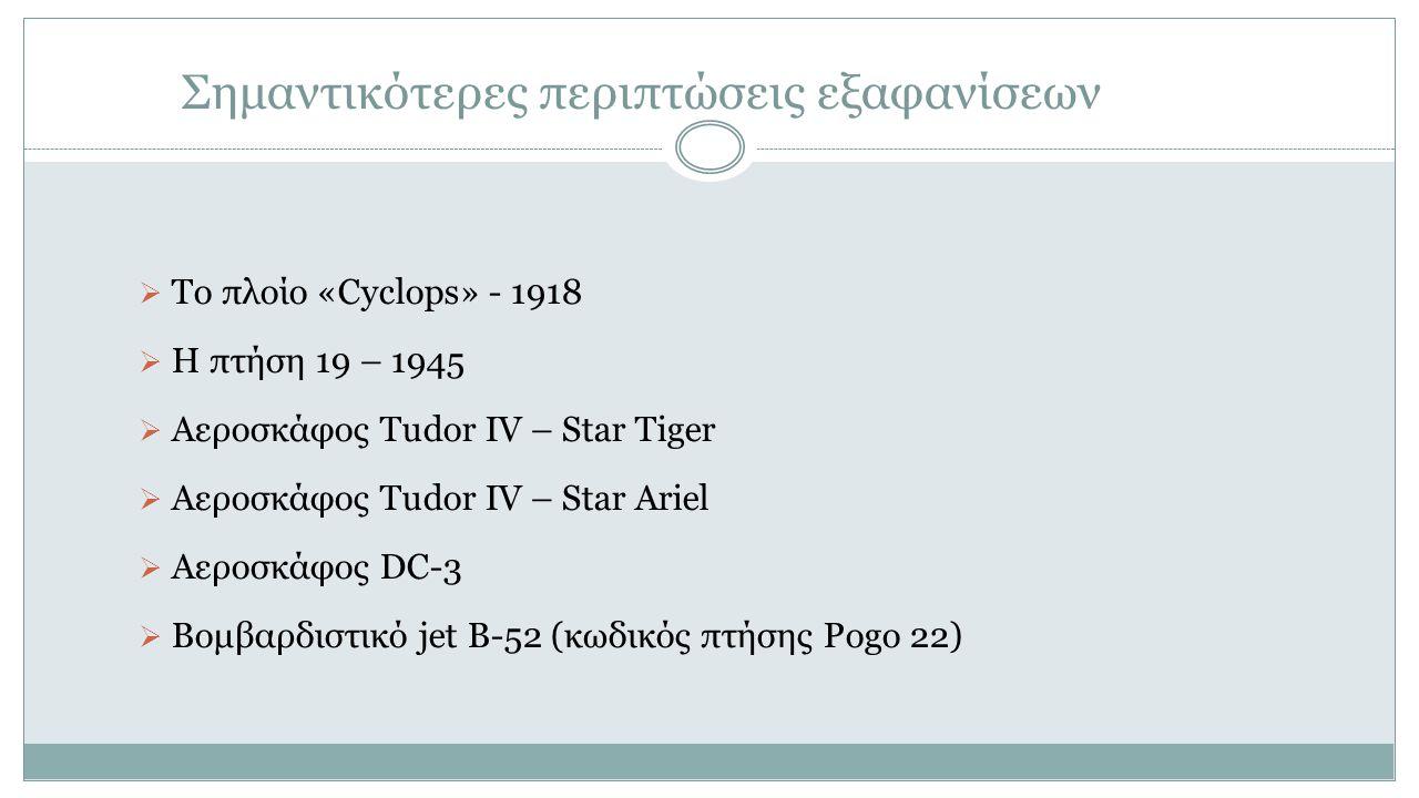 Σημαντικότερες περιπτώσεις εξαφανίσεων  Το πλοίο «Cyclops» - 1918  Η πτήση 19 – 1945  Αεροσκάφος Tudor IV – Star Tiger  Αεροσκάφος Tudor IV – Star Ariel  Αεροσκάφος DC-3  Βομβαρδιστικό jet B-52 (κωδικός πτήσης Pogo 22)