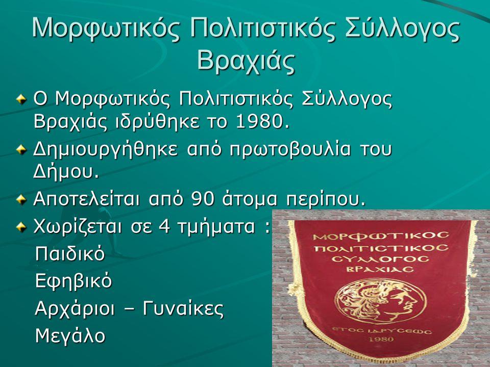 Μορφωτικός Πολιτιστικός Σύλλογος Βραχιάς Ο Μορφωτικός Πολιτιστικός Σύλλογος Βραχιάς ιδρύθηκε το 1980.