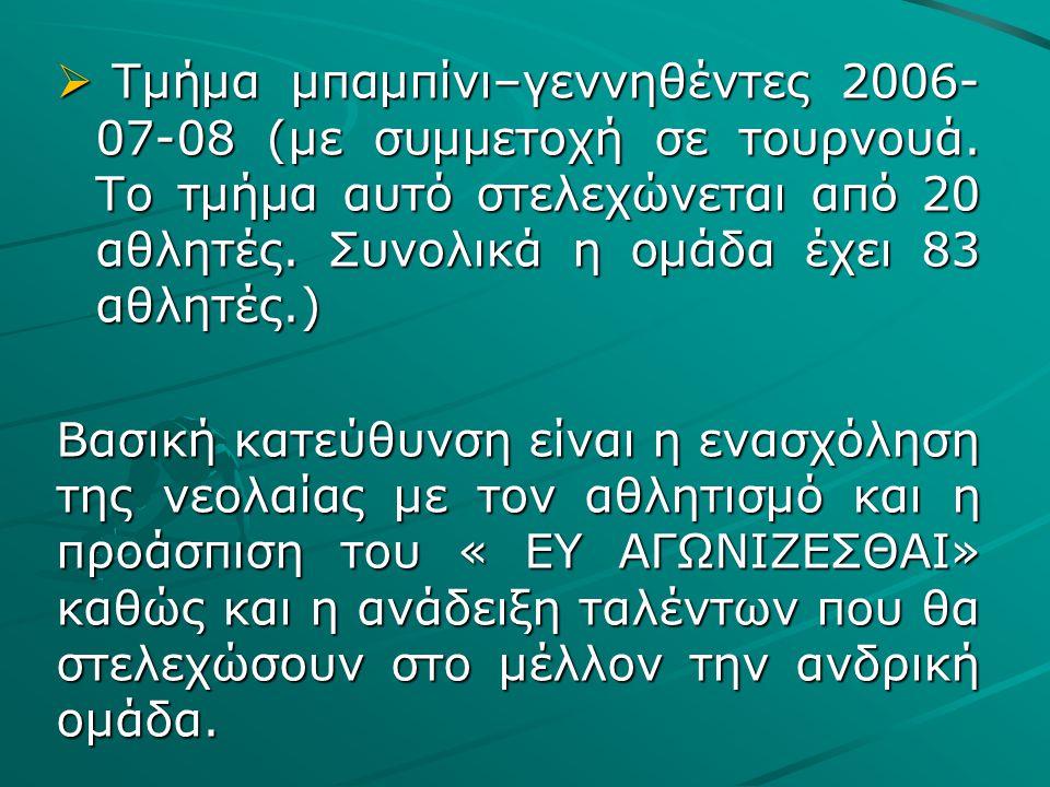  Τμήμα μπαμπίνι–γεννηθέντες 2006- 07-08 (με συμμετοχή σε τουρνουά.