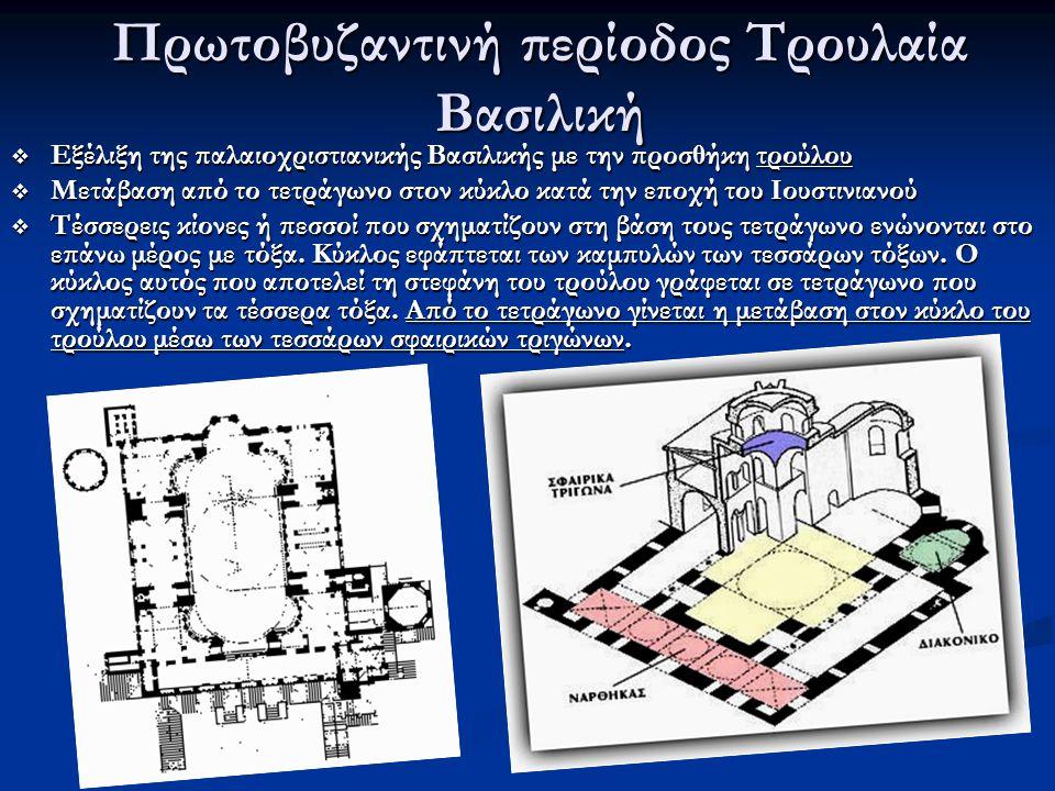 Πρωτοβυζαντινή περίοδος Τρουλαία Βασιλική  Εξέλιξη της παλαιοχριστιανικής Βασιλικής με την προσθήκη τρούλου  Μετάβαση από το τετράγωνο στον κύκλο κα