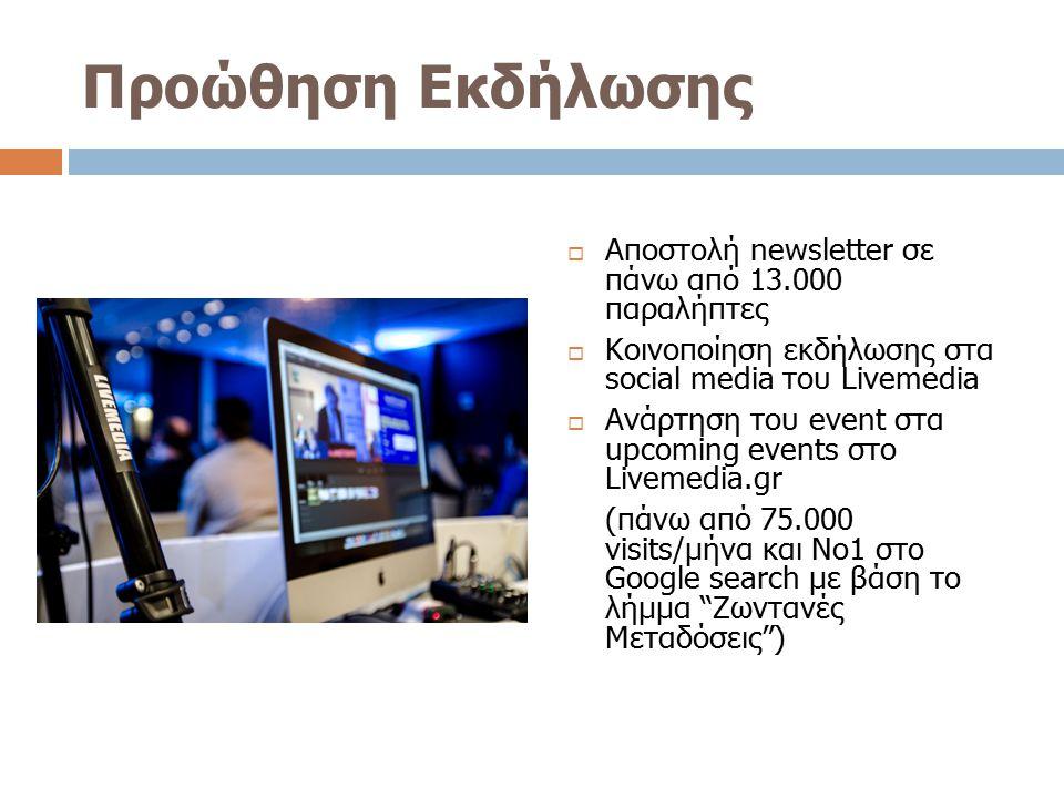 Προώθηση Εκδήλωσης  Αποστολή newsletter σε πάνω από 13.000 παραλήπτες  Κοινοποίηση εκδήλωσης στα social media του Livemedia  Ανάρτηση του event στα