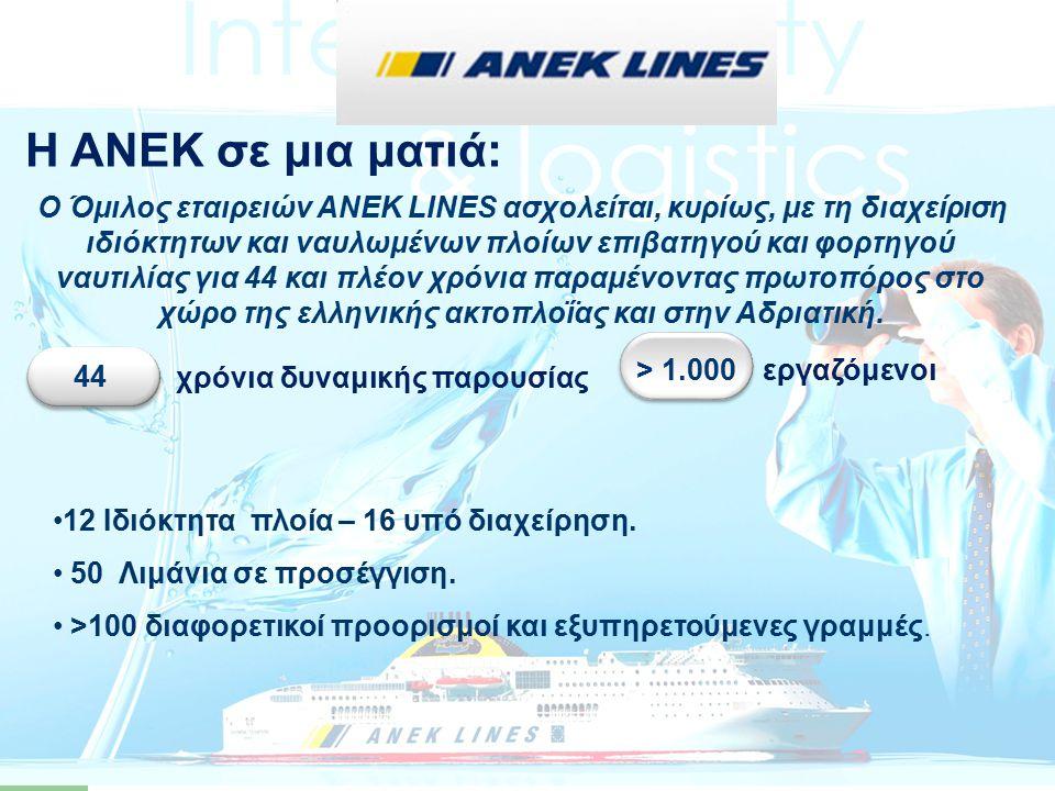 …ο Όμιλος ΑΝΕΚ εξυπηρετεί περισσότερα από 50 λιμάνια και πάνω από 100 προορισμούς με τις γραμμές Αιγαίου (Πειραιάς-Χανιά, Πειραιάς-Ηράκλειο, Πειραιάς-ΒΑ Αιγαίο, Πειραιάς-Κυκλάδες- Δωδεκάνησα, Ενδο- κυκλαδική), τις γραμμές Ιονίου (Πάτρα-Ηγουμενίτσα- Κέρκυρα), και τις γραμμές Αδριατικής (Πάτρα-Αγκώνα και Πάτρα-Βενετία).