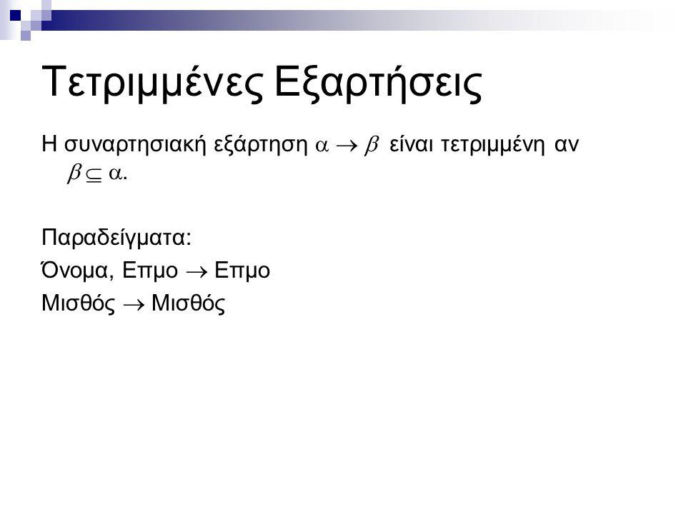 Τετριμμένες Εξαρτήσεις Η συναρτησιακή εξάρτηση    είναι τετριμμένη αν   . Παραδείγματα: Όνομα, Επμο  Επμο Μισθός  Μισθός